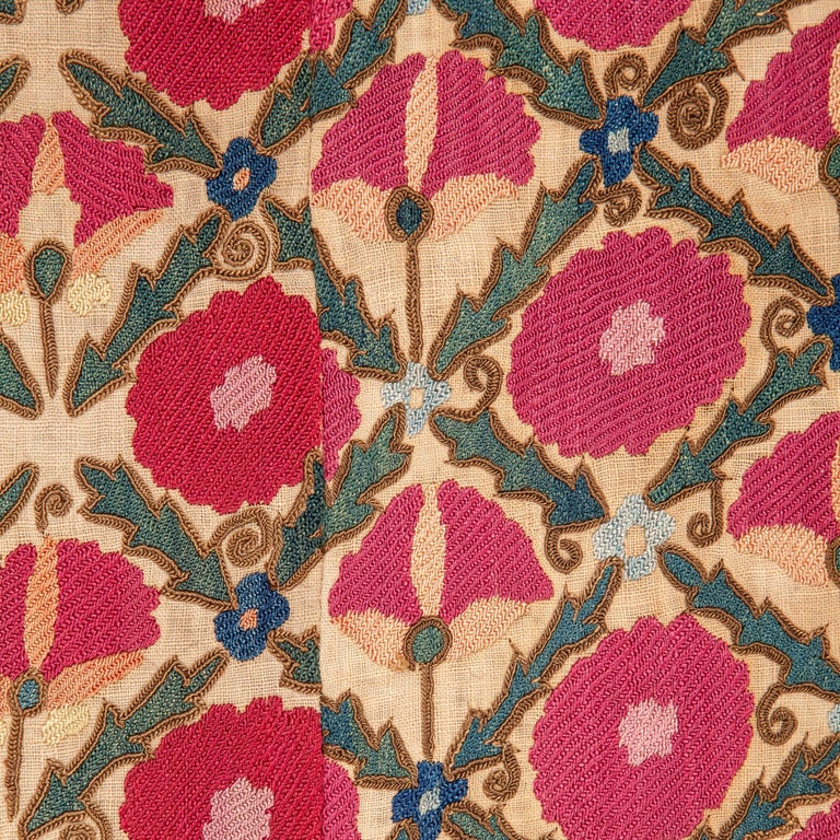 Cotton Antique Suzani from Ura Tube, Tajikistan, 19th Century For Sale