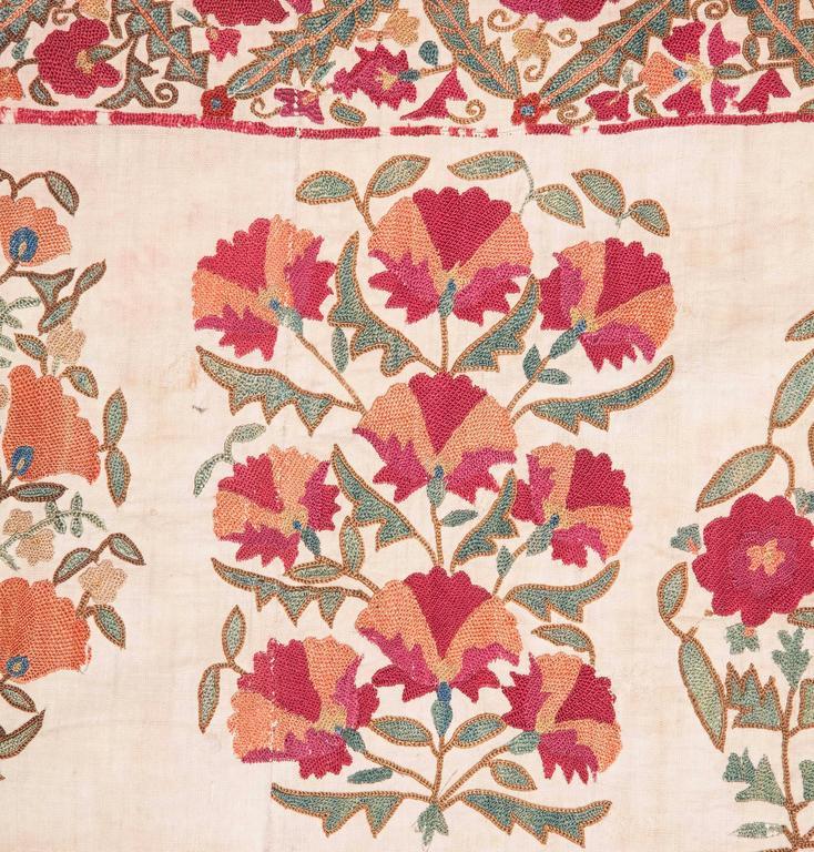 19th Century Antique Uzbek Nurata Suzani For Sale 1