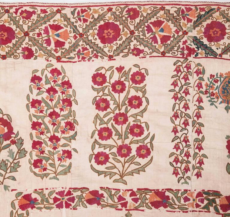 19th Century Antique Uzbek Nurata Suzani For Sale 2