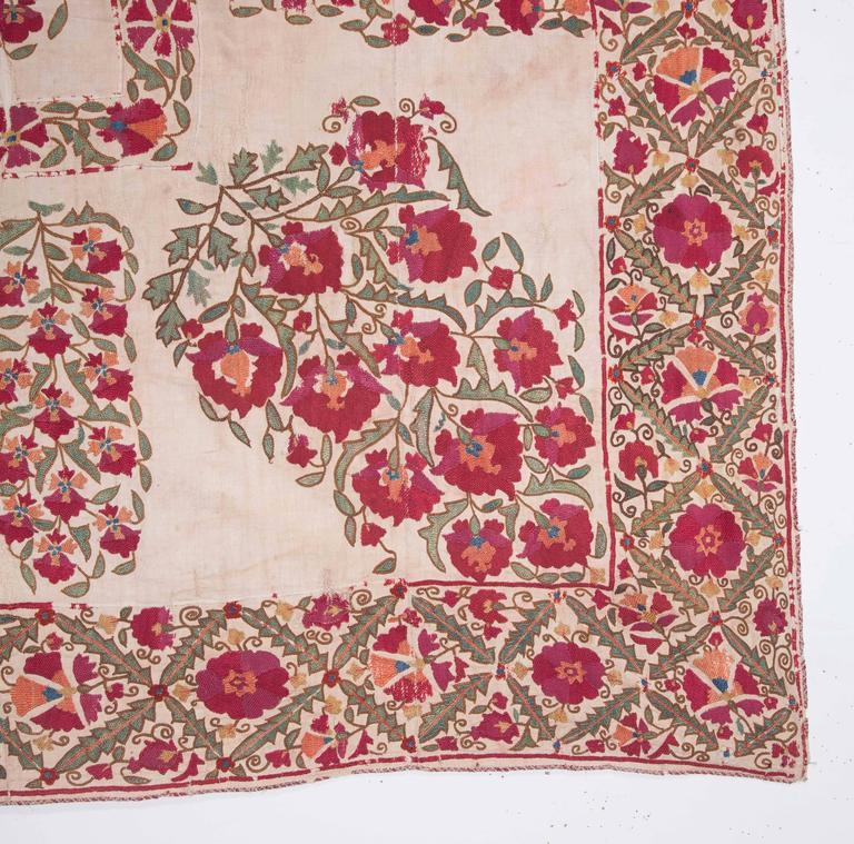 19th Century Antique Uzbek Nurata Suzani For Sale 3