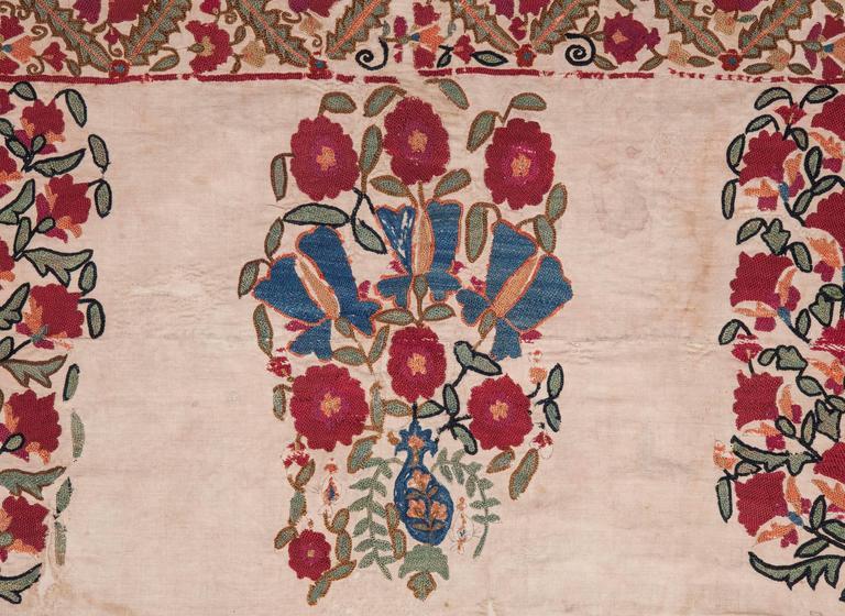 19th Century Antique Uzbek Nurata Suzani For Sale 4