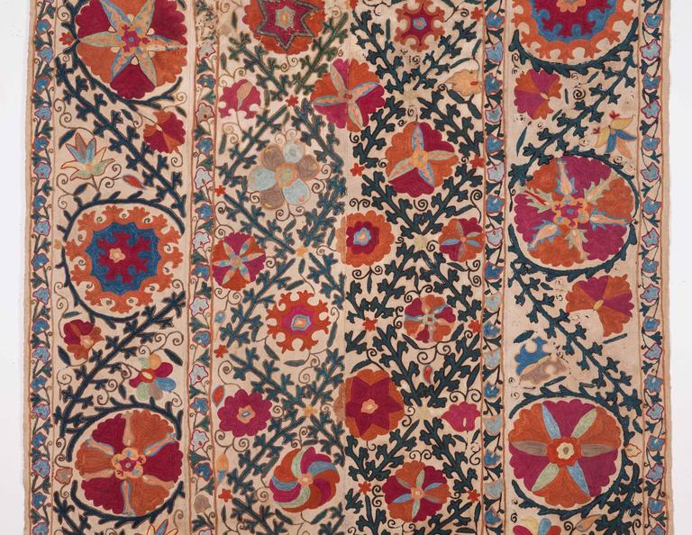 19th Century Antique Bukhara Nim Suzani From Uzbekistan
