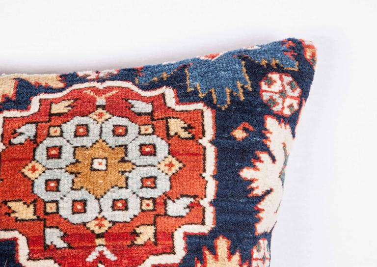 Woven Pillow Made Out of a 19th Century Caucasian Shrivan Rug Fragment For Sale