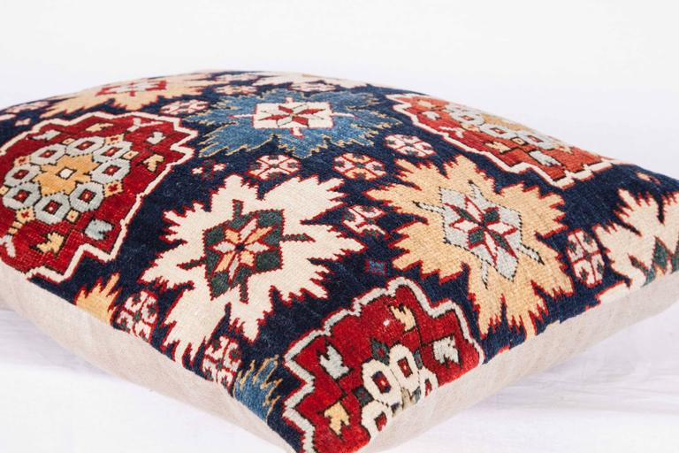 Pillow Made Out of a 19th Century Caucasian Shrivan Rug Fragment For Sale 2