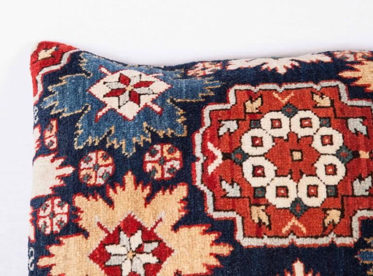 Tribal Pillow Made Out of a 19th Century Caucasian Shrivan Rug Fragment For Sale