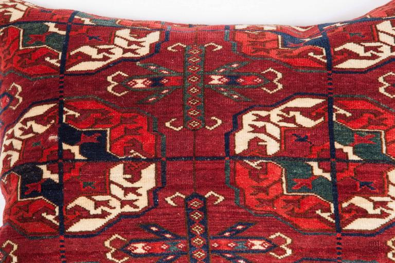 Tribal Antique Pillow with Velvet like Texture Made Out of 19th Century Turkmen Rug For Sale