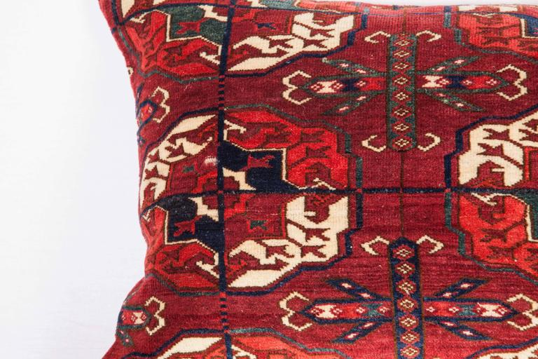 Hand-Woven Antique Pillow with Velvet like Texture Made Out of 19th Century Turkmen Rug For Sale