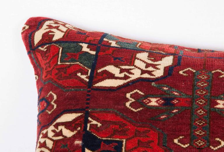 Antique Pillow with Velvet like Texture Made Out of 19th Century Turkmen Rug In Good Condition For Sale In Istanbul, TR