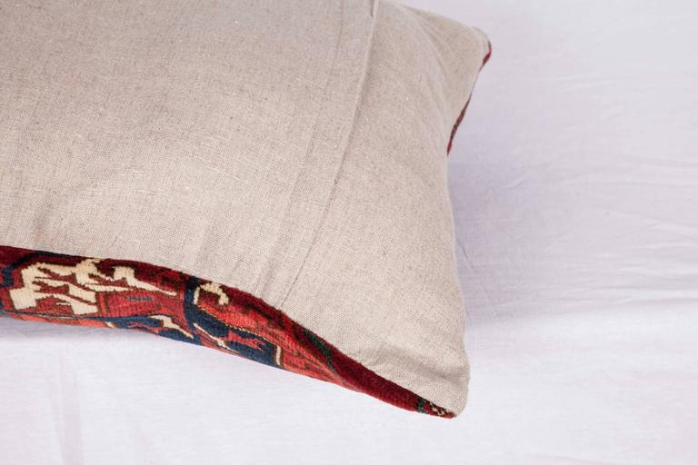 Antique Pillow with Velvet like Texture Made Out of 19th Century Turkmen Rug For Sale 1