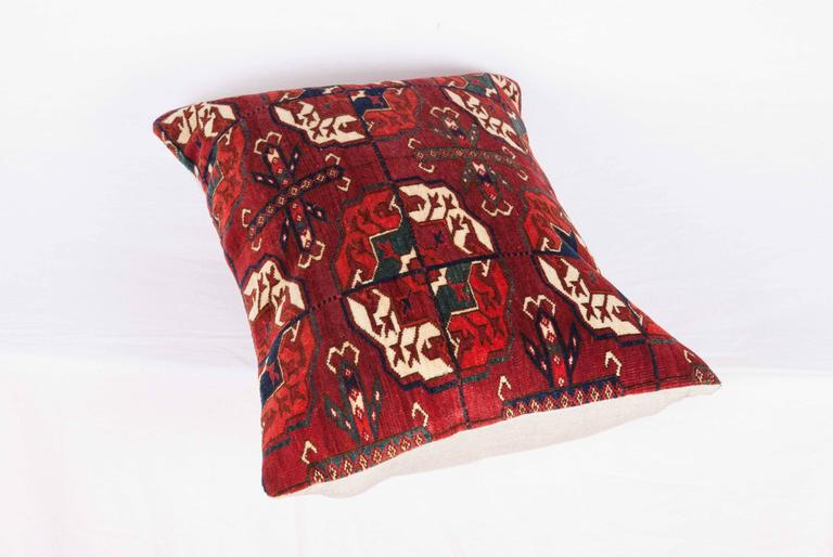 Antique Pillow with Velvet like Texture Made Out of 19th Century Turkmen Rug For Sale 2