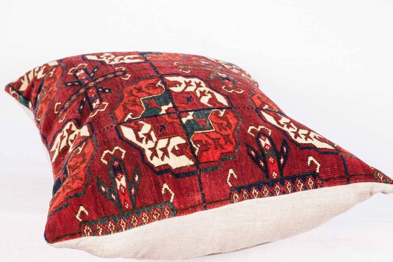 Antique Pillow with Velvet like Texture Made Out of 19th Century Turkmen Rug For Sale 3