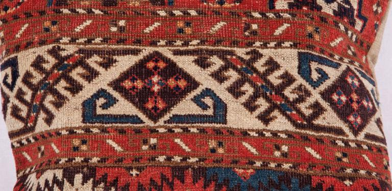 Tribal Pillows Made Out of a 19th Century Turkmen Chodor Tribe Main Rug Fragment For Sale