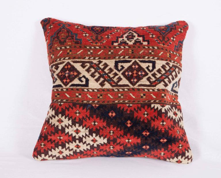 Pillows Made Out of a 19th Century Turkmen Chodor Tribe Main Rug Fragment In Good Condition For Sale In Istanbul, TR