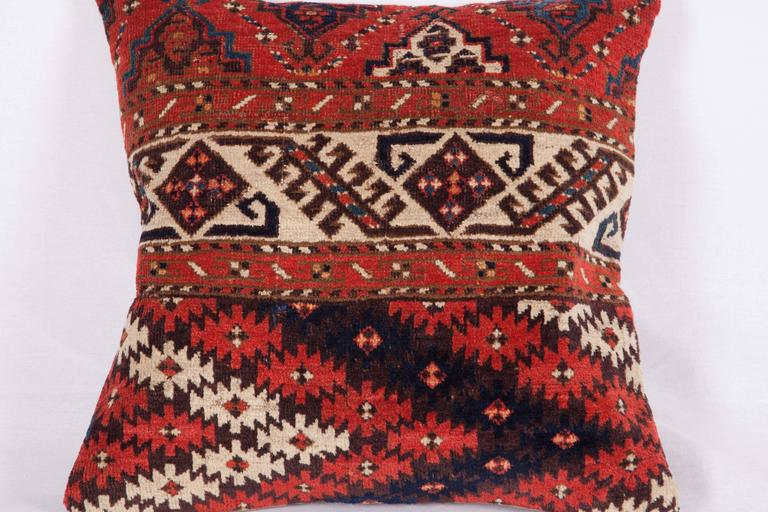 Wool Pillows Made Out of a 19th Century Turkmen Chodor Tribe Main Rug Fragment For Sale