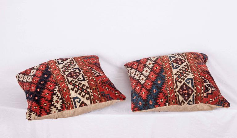 Pillows Made Out of a 19th Century Turkmen Chodor Tribe Main Rug Fragment For Sale 2