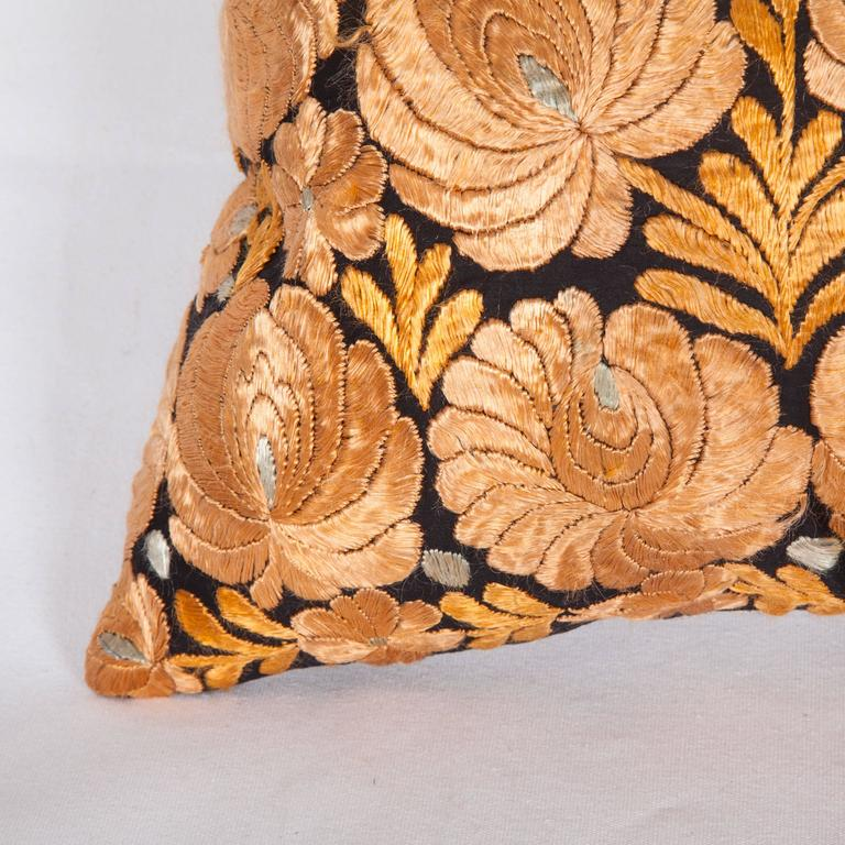 Embroidered Antique Pillow Made Out of an Hungarian Matyo Embroidery For Sale