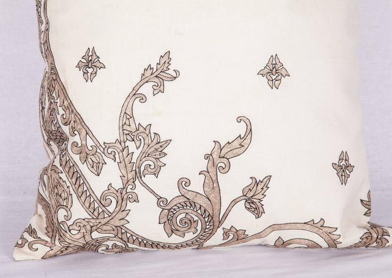 Suzani Antique Pillow Made Out of a 19th century or Earlier European Silver Embroidery For Sale