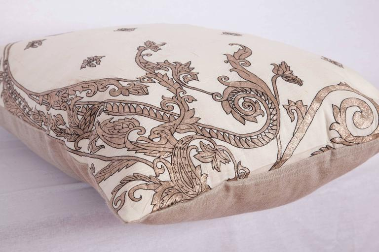 Embroidered Antique Pillow Made Out of a 19th century or Earlier European Silver Embroidery For Sale