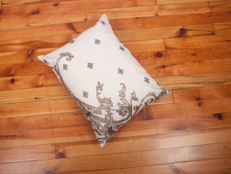 Antique Pillow Made Out of a 19th century or Earlier European Silver Embroidery For Sale 1
