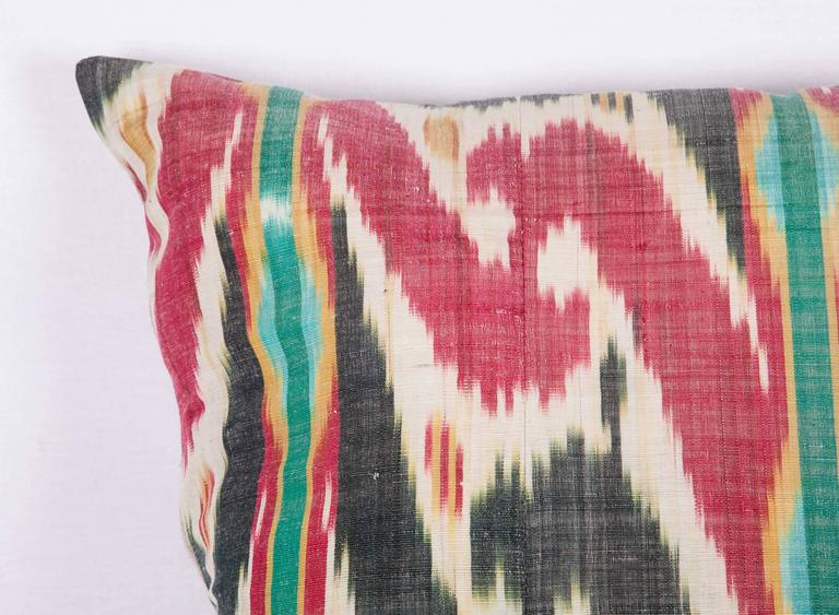 Tribal Antique Pillow Made Out of a 19th Century Uzbek Ikat For Sale