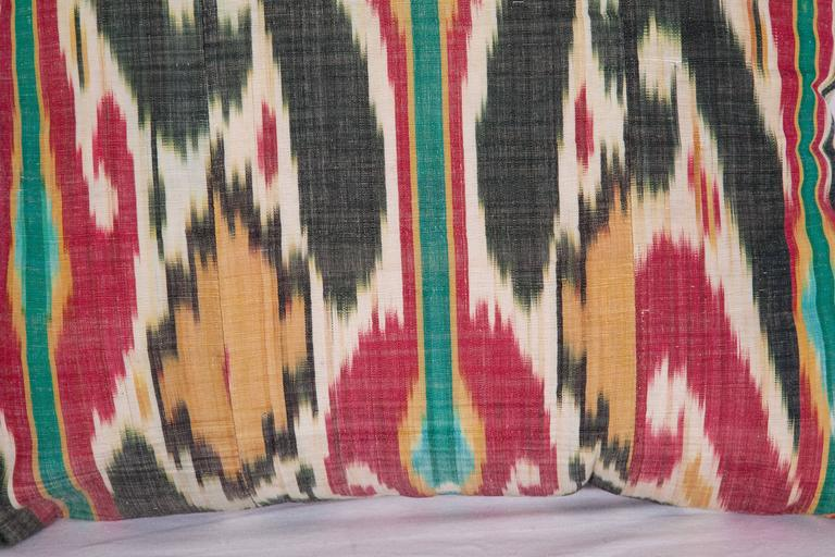 Woven Antique Pillow Made Out of a 19th Century Uzbek Ikat For Sale