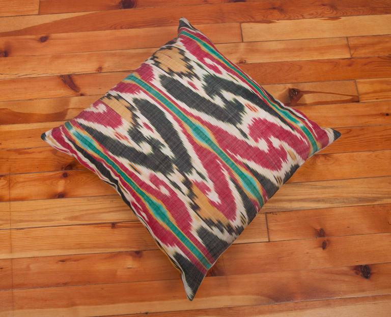 Linen Antique Pillow Made Out of a 19th Century Uzbek Ikat For Sale