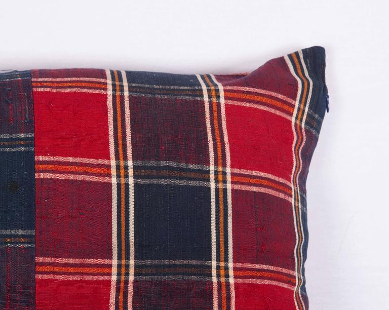 Hand-Woven Pillow Made Out of a Mid-20th Century, Turkmen Silk Shawl For Sale