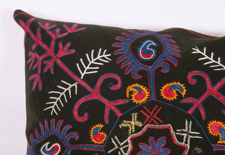 Suzani Pillow Made Out of an Early 20th Century Kyrgyz Embroidery For Sale