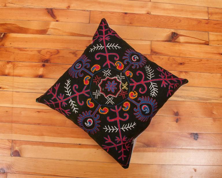 Embroidered Pillow Made Out of an Early 20th Century Kyrgyz Embroidery For Sale