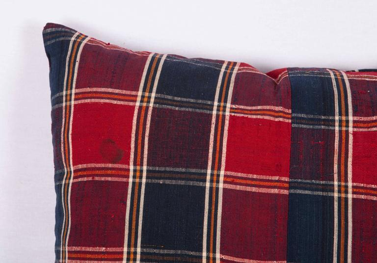 Tribal Pillow Made Out of a Mid-20th Century Turkmen Silk Shawl For Sale