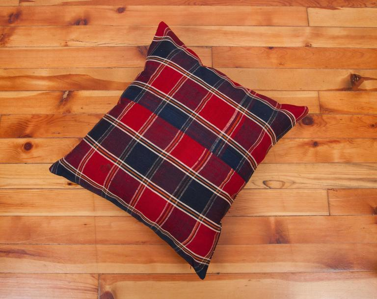 Pillow Made Out of a Mid-20th Century Turkmen Silk Shawl For Sale 1