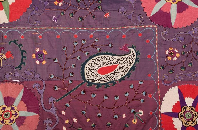 Embroidered 19th Century Uzbek Shakrisabz Suzani Fragment For Sale