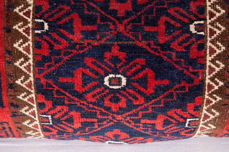Afghan Antique Pillow Made Out of a 19th Century Baluch Rug Fragment For Sale