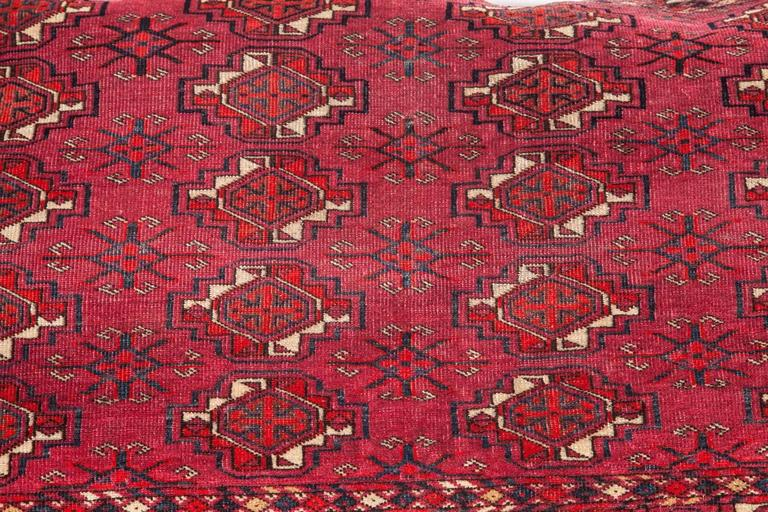 Tribal Antique Large Floor Pillow Made Out of a Turkmen Tekke Chuval For Sale