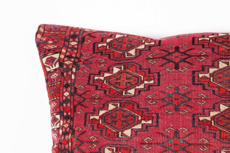 Woven Antique Large Floor Pillow Made Out of a Turkmen Tekke Chuval For Sale