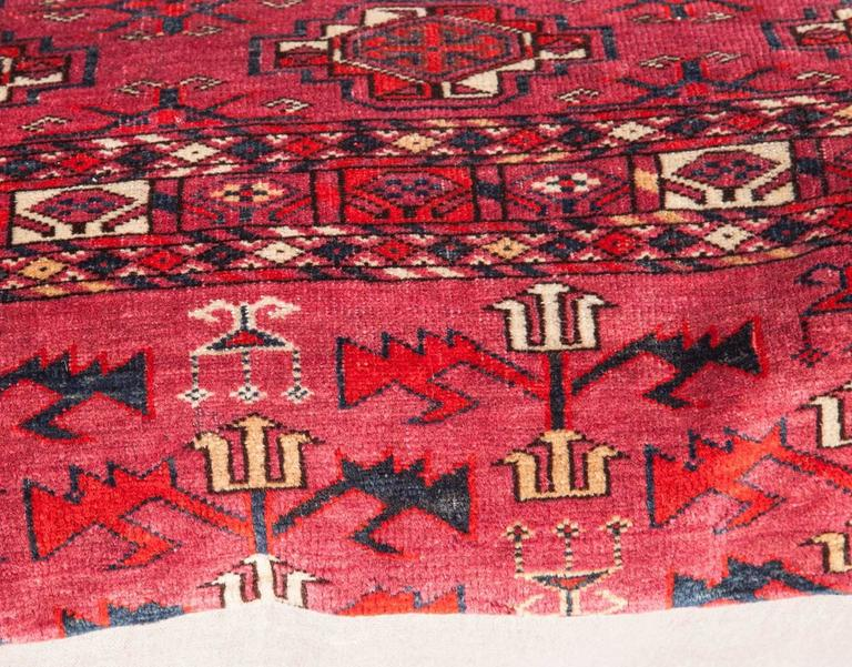 20th Century Antique Large Floor Pillow Made Out of a Turkmen Tekke Chuval For Sale
