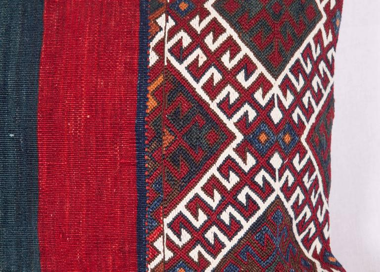Kilim Antique Pillow Made Out of a 19th Century Anatolian Bag For Sale