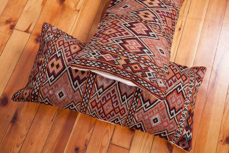 Old Anatolian Sumak Pillow Cases, Early 20th Century In Good Condition For Sale In Istanbul, TR