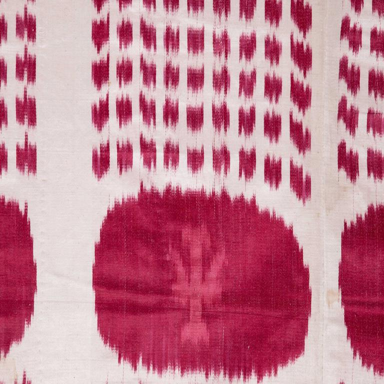 This is a satin weave ikat in silk and cotton, with a very simple, graphic drawing. Lined with plain cotton fabric.