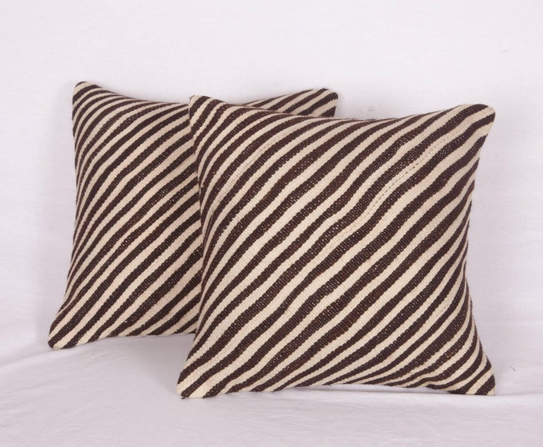 Woven Pillow Cases Fashioned Out of a Mid-20th Century Anatolian Angora Siirt Blanket For Sale