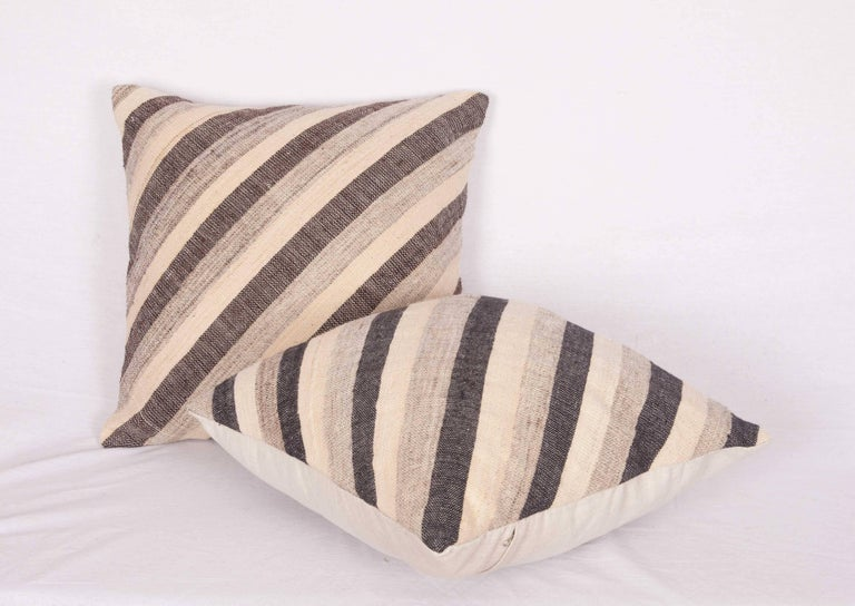 Woven Pillows Made Out of an Anatolian Turkish Mid-20th Century Kilim For Sale