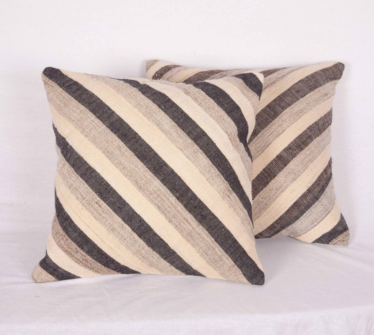 Wool Pillows Made Out of an Anatolian Turkish Mid-20th Century Kilim For Sale