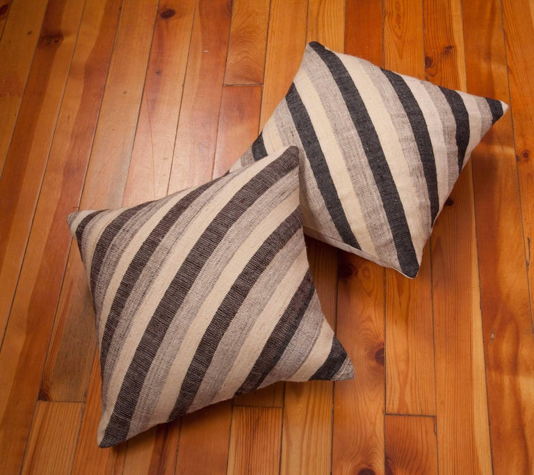 Pillows Made Out of an Anatolian Turkish Mid-20th Century Kilim For Sale 3