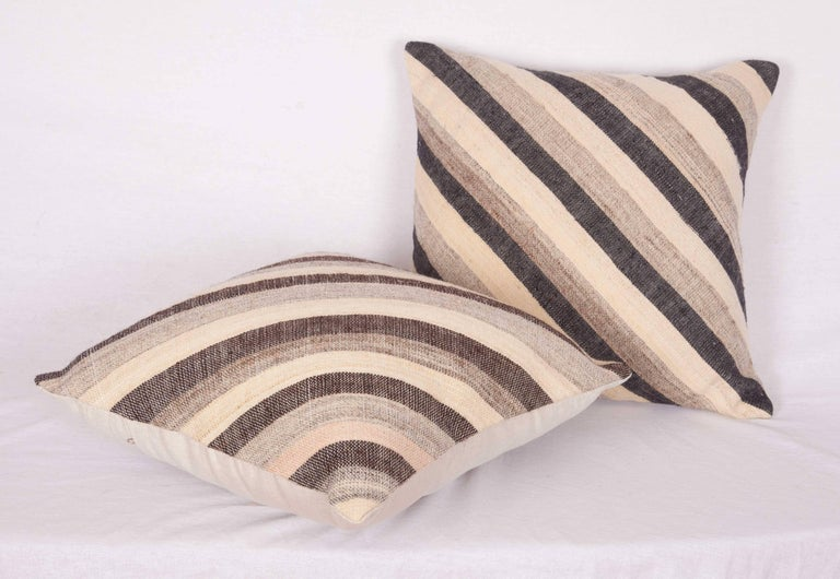 Woven Pillows Made Out of an Anatolian Turkish, Mid-20th Century Kilim For Sale