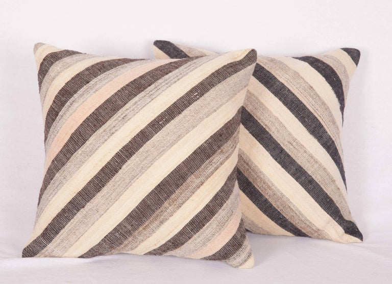 Pillows Made Out of an Anatolian Turkish, Mid-20th Century Kilim For Sale 2