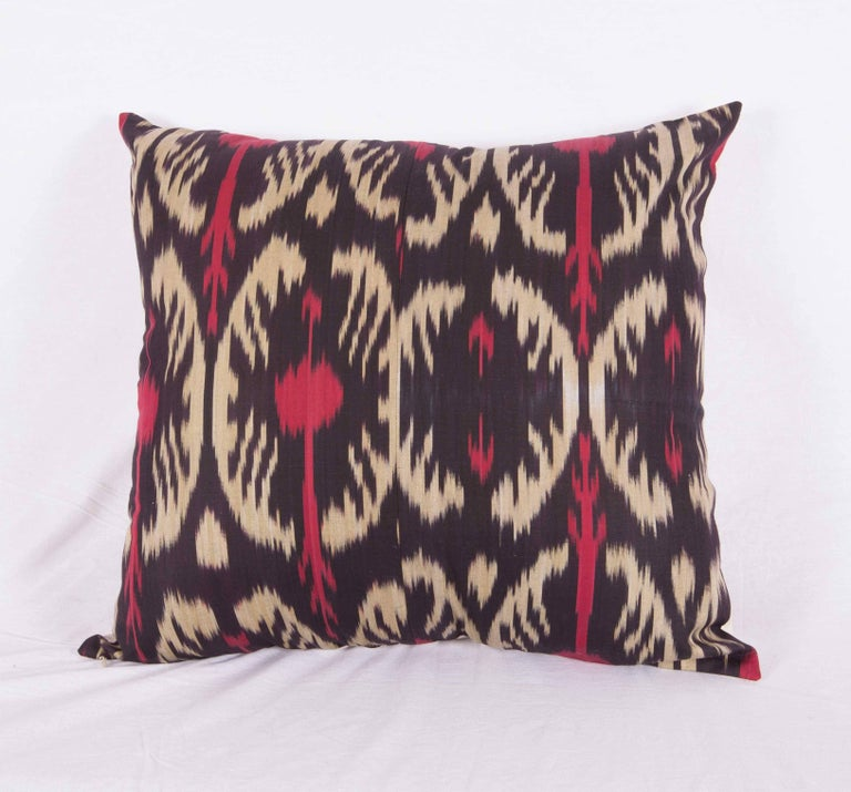 Tribal Large Pillow Cases Fashioned Out of Contemporary Uzbek Silk and Cotton Ikats For Sale