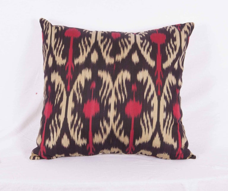 Hand-Woven Large Pillow Cases Fashioned Out of Contemporary Uzbek Silk and Cotton Ikats For Sale