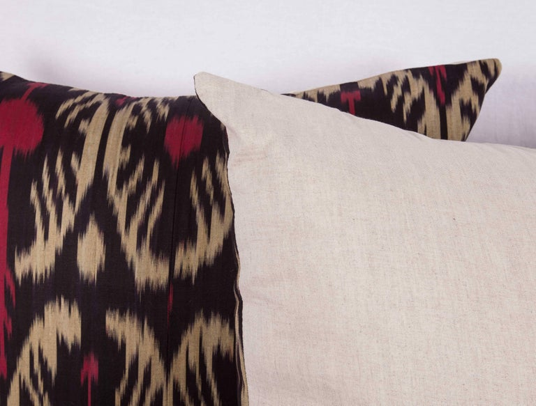 Linen Large Pillow Cases Fashioned Out of Contemporary Uzbek Silk and Cotton Ikats For Sale