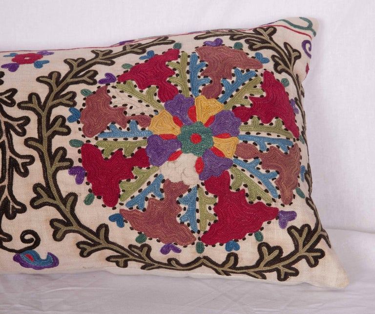 Embroidered Antique Pillow Made Out of a Late 19th Century, Uzbek Bukhara Suzani For Sale