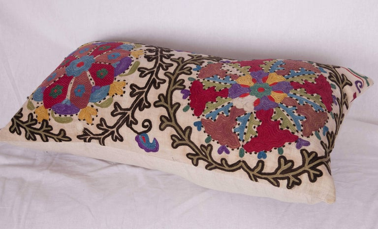 Cotton Antique Pillow Made Out of a Late 19th Century, Uzbek Bukhara Suzani For Sale